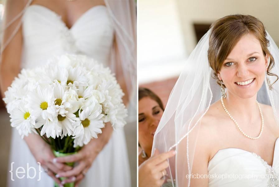bridesmaid helping bride