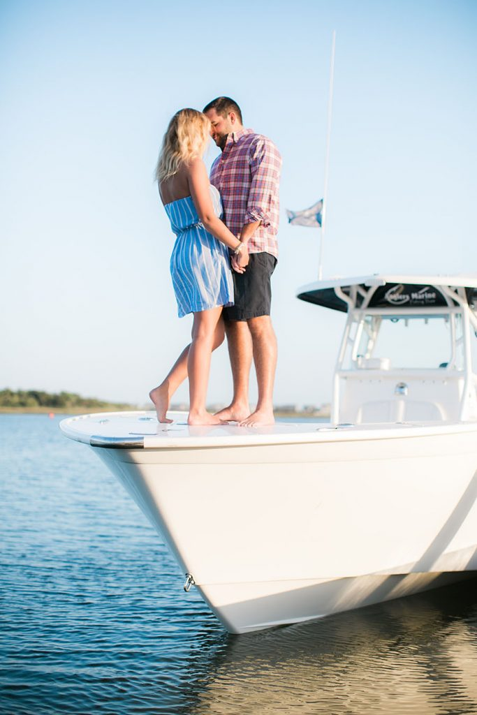 shallotte, North Carolina, beach, coastal, summertime, summer, bride to be, groom to be, love, affection, boat, bayside