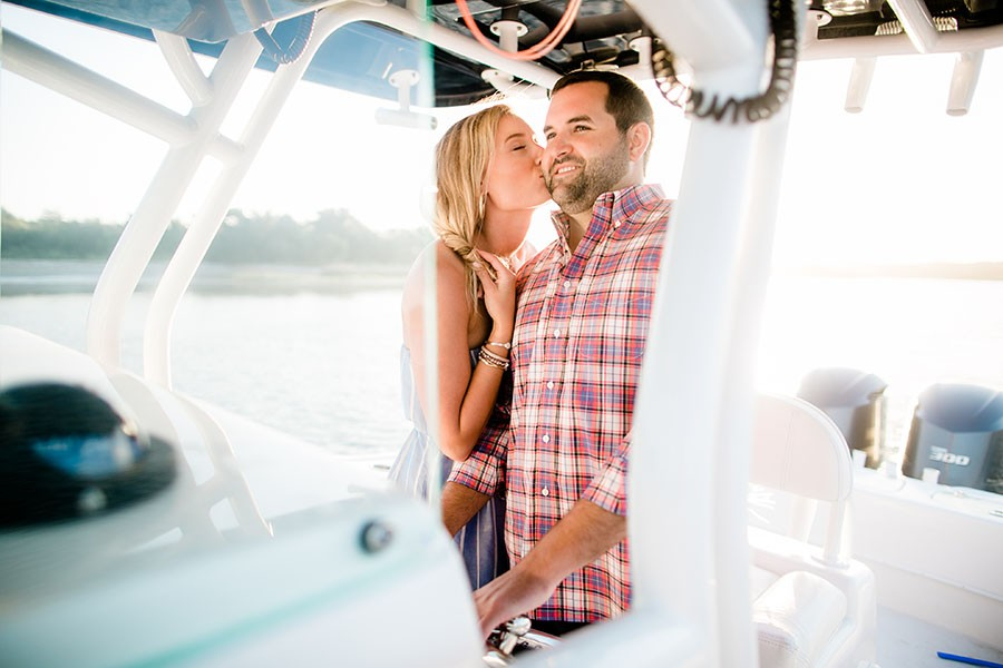 shallotte, North Carolina, beach, coastal, summertime, summer, bride to be, groom to be, love, affection, bay, kiss, boat