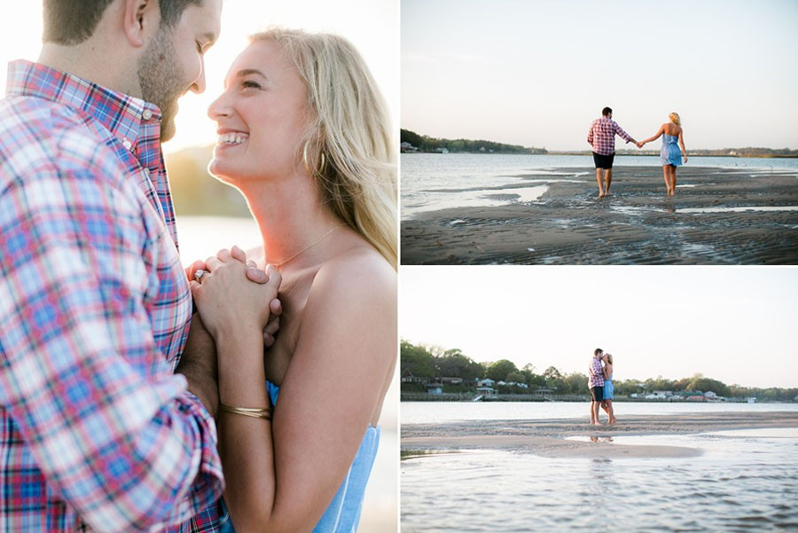 shallotte, North Carolina, beach, coastal, summertime, summer, bride to be, groom to be, love, affection, walking, beach