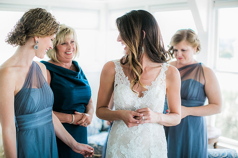 eric boneske photography, bald head island club, getting ready, bride, bridesmaids, white wedding dress, engagement ring, blue bridesmaids dresses, North Carolina wedding, island,