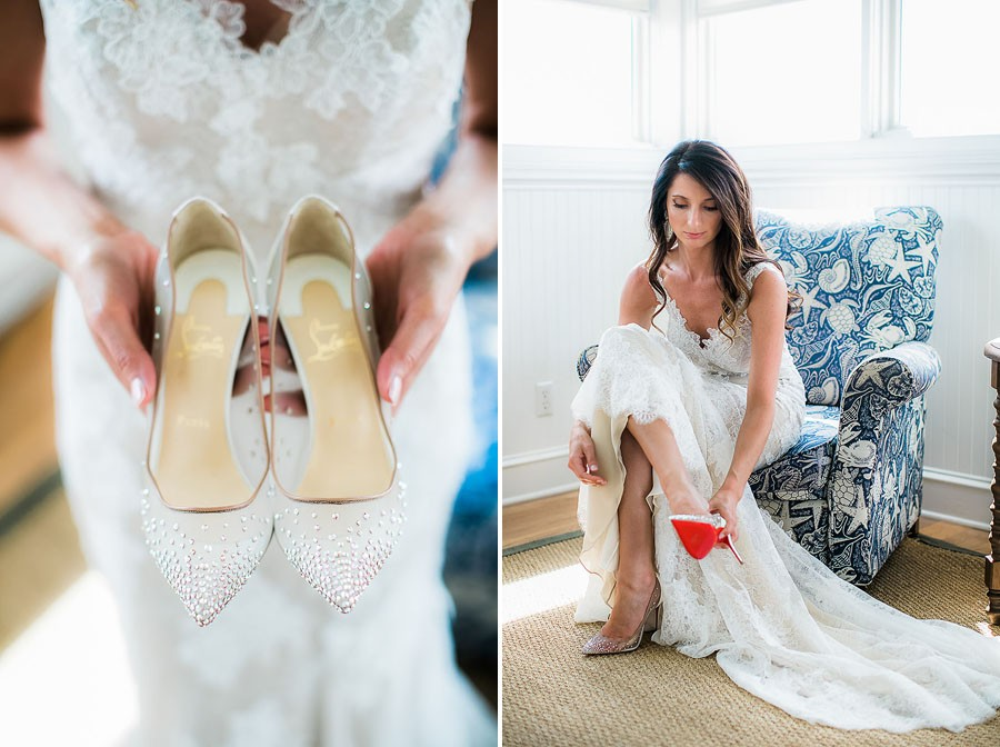 hotography, wedding photographer, North Carolina, bald head island, wedding, summer, christian louboutin, white heels, love, happiness, fancy, bald head island club, coastal, white wedding dress, engagement ring, diamonds, diamond ring, getting ready,