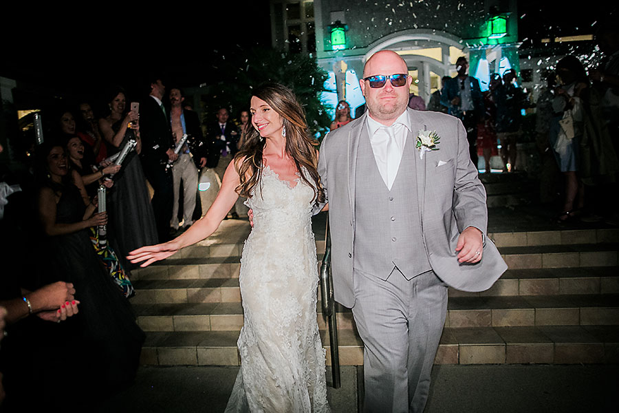 eric boneske photography, wedding photographer, travel, destination, the big day, bride, groom, boutonniere, white bouquet, love, marriage, newlyweds, confetti exit, end of the night, rolls Royce, golf cart,
