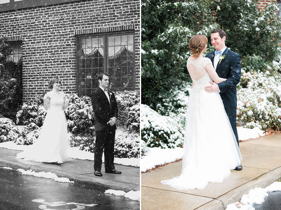 first look, white wedding, groom, boutonniere, snow, bow tie, invitations, snowy wedding, wedding dress, engagement ring, wedding day, North Carolina, destination photographer, Wilmington nc, big day, bride, sedgefield country club, eric boneske photography,