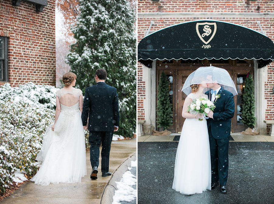 groom, boutonniere, walking, winter, kiss, snow, bow tie, invitations, snowy wedding, wedding dress, engagement ring, wedding day, North Carolina, destination photographer, Wilmington nc, big day, bride, sedgefield country club, eric boneske photography,