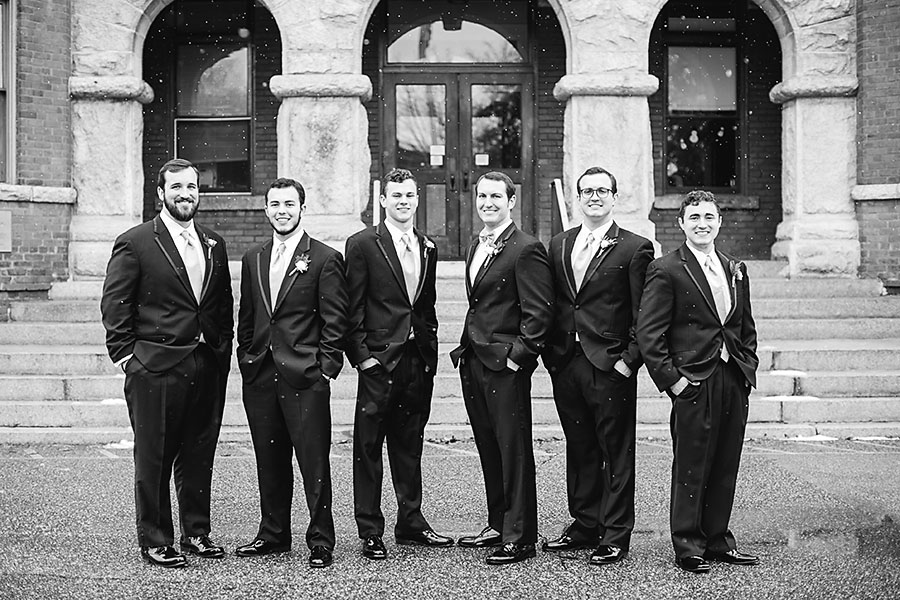 groomsmen, best man, groom, boutonniere, snow, bow tie, invitations, snowy wedding, wedding dress, engagement ring, wedding day, North Carolina, destination photographer, Wilmington nc, big day, bride, sedgefield country club, eric boneske photography,