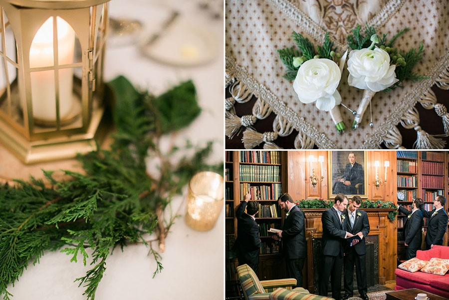 reception details, waiting for ceremony, groom, boutonniere, snow, bow tie, invitations, snowy wedding, wedding dress, engagement ring, wedding day, North Carolina, destination photographer, Wilmington nc, big day, bride, sedgefield country club, eric boneske photography,