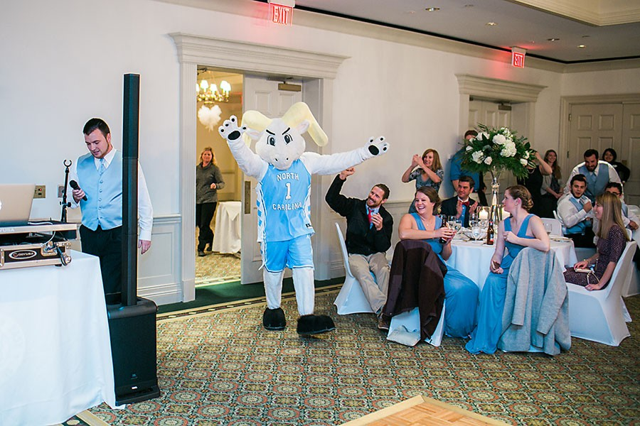 eric boneske photography, destination photographer, mascot, reception, sports, UNC,