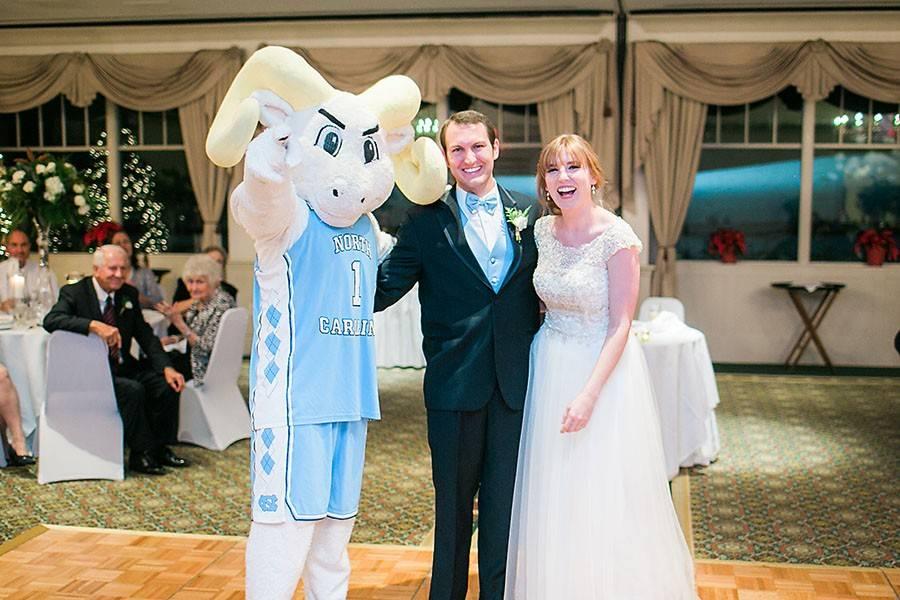 eric boneske photography, destination photographer, UNC mascot, reception, wedding day, bride, groom, white wedding dress,