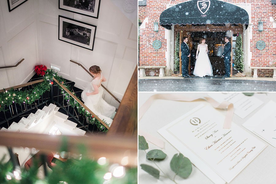 bride walking up stairs, groom, boutonniere, snow, bow tie, invitations, snowy wedding, wedding dress, engagement ring, wedding day, North Carolina, destination photographer, Wilmington nc, big day, bride, sedgefield country club, eric boneske photography,